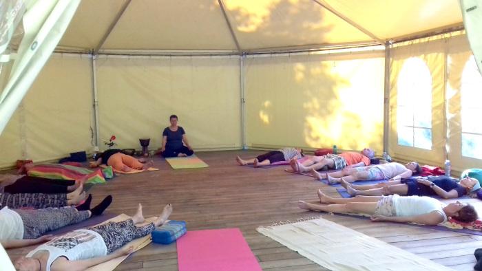 Yoga with Saroj Boudier, Cala Jami Inayati Sufi camp Sardinia