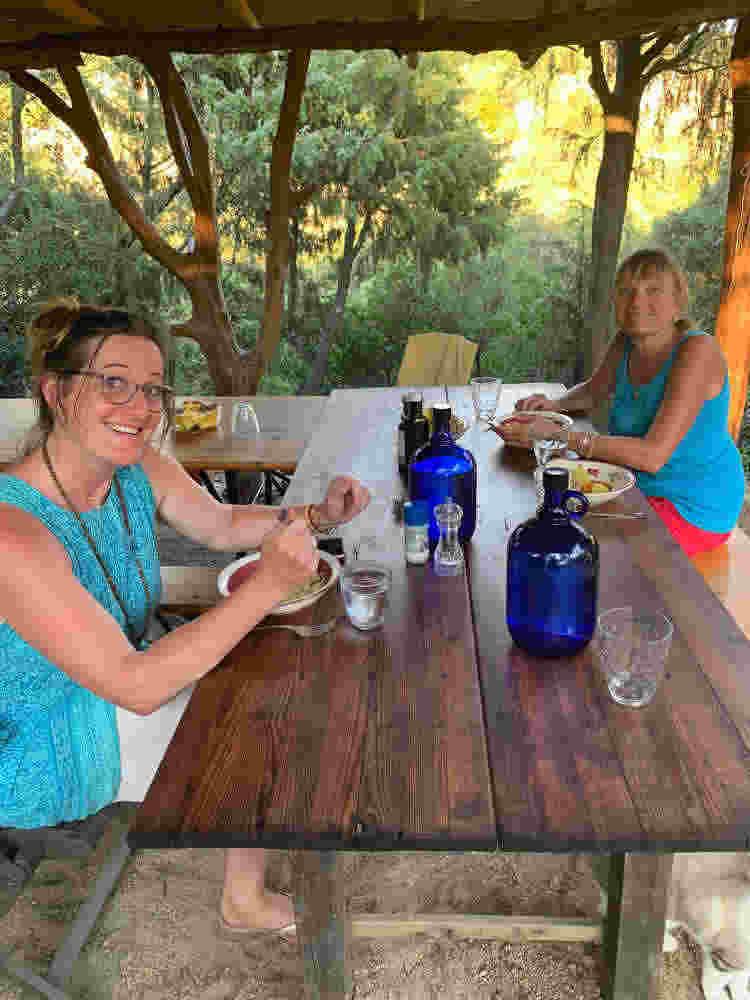 Sufi meditation center Cala Jami Sardinia - dear friends in new tea lounge 2020