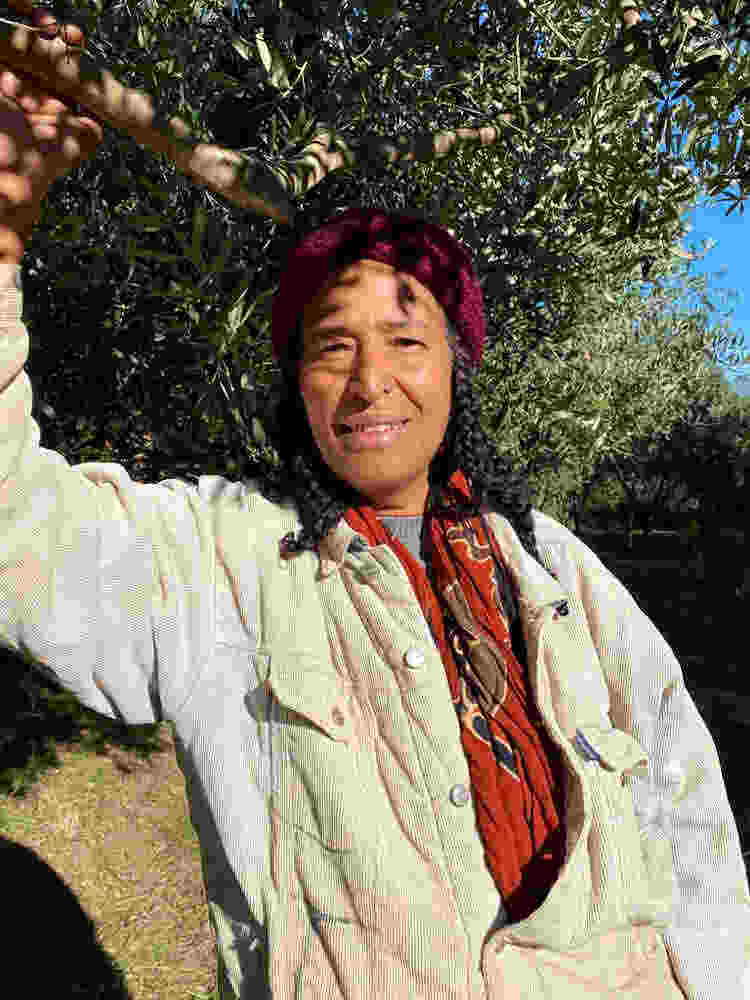 Rachida's beautiful, blessing presence at Cala Jami olive harvest